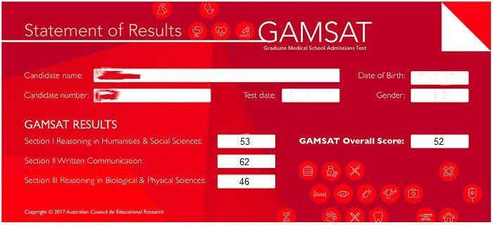 GAMSAT Score Statement