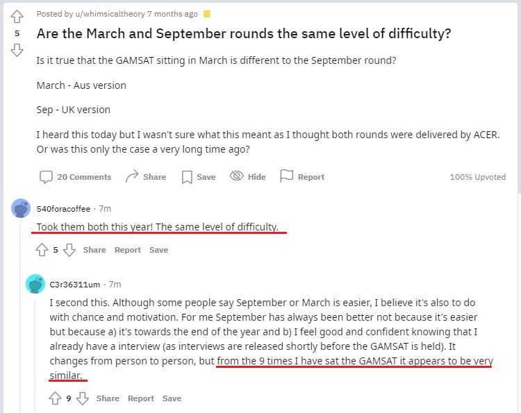 September vs March Gamsat